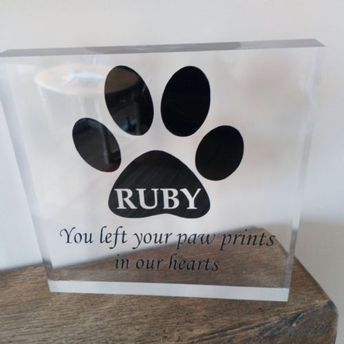 Clear Acrylic Free Standing Dog/Cat Memory Paw Block -